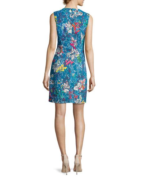 Sleeveless V-Neck Botanical-Print Dress, Blue