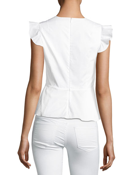 Embroidered Cap-Sleeve Peplum Top, White