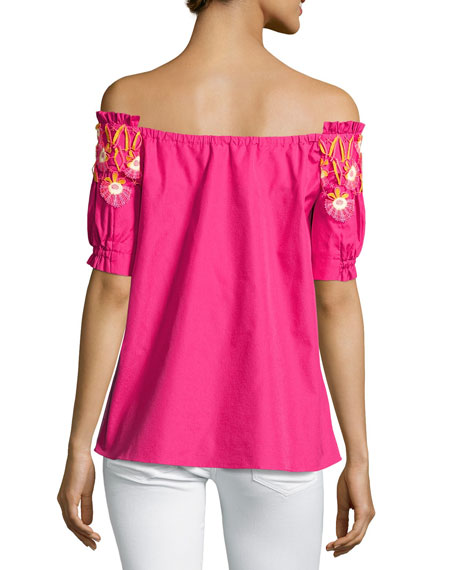 Paneled Off-the-Shoulder Lace-Trim Top, Pink