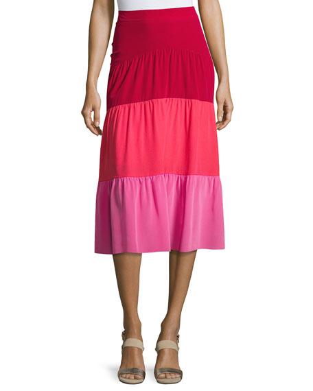 Colorblock Paneled Midi Skirt, Pink