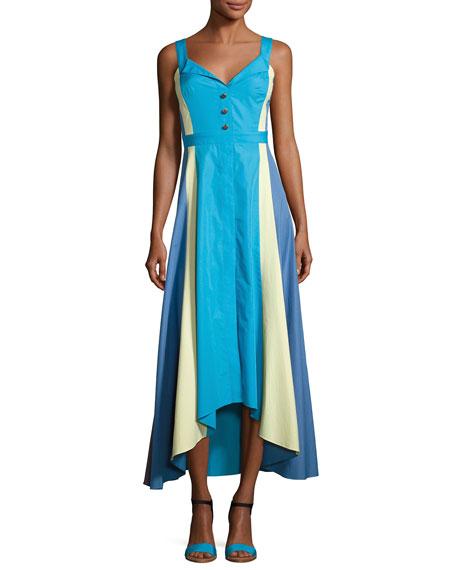 Paneled Cotton Midi Dress, Turquoise