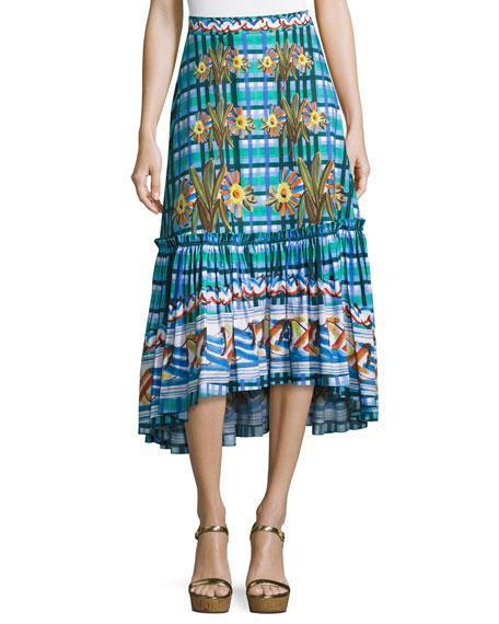Embroidered Cotton Midi Skirt, Blue