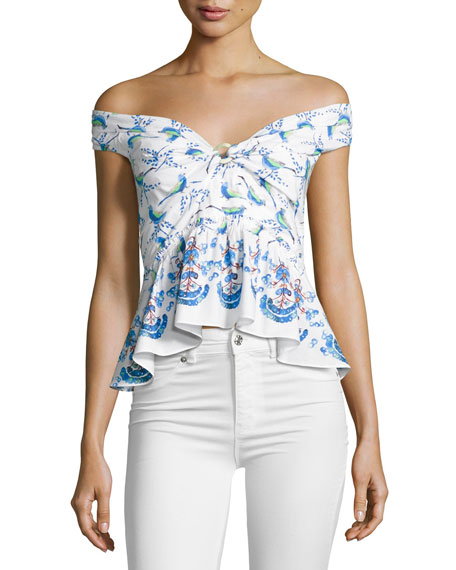 Peter Pilotto Printed Off-Shoulder Peplum Top, White Pattern