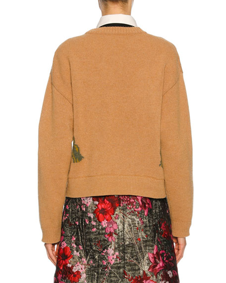 747b99be92839d Dolce & Gabbana Knit Sweater w/Cat Intarsia, Nude