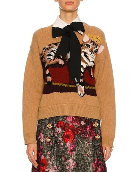 759bf6352d0 Dolce   Gabbana Knit Sweater w Cat Intarsia