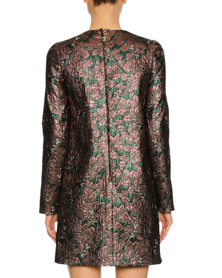 Long-Sleeve Metallic Jacquard Cocktail Dress, Pink/Green