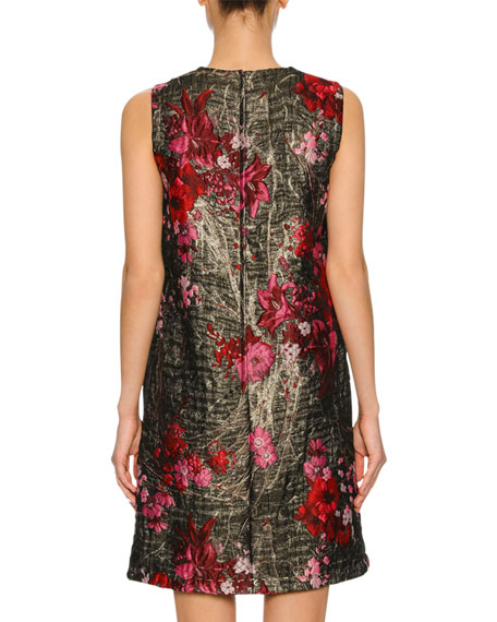 Sleeveless Bouquet Jacquard Shift Dress, Multi