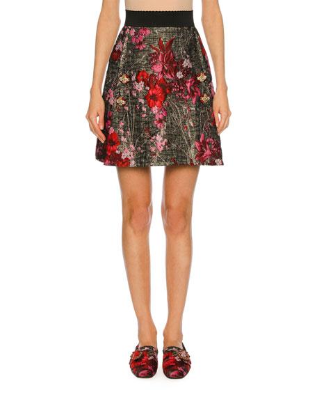 Metallic Floral Bouquet Jacquard Skirt, Multi