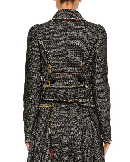 Chiffon-Trim Tweed Jacket, Gray