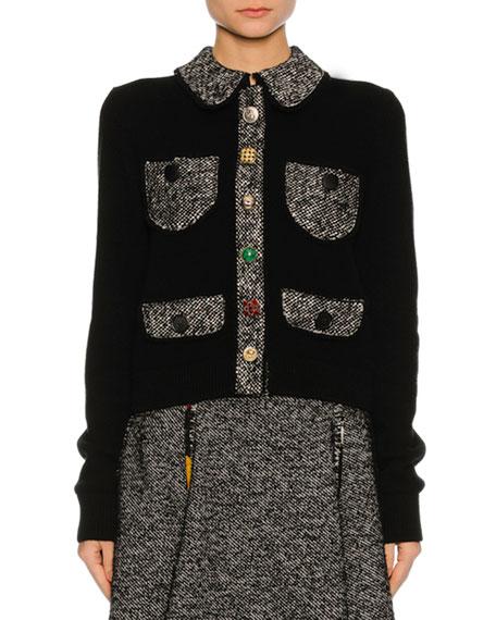 Tweed-Trim Patch-Pocket Sweater, Black