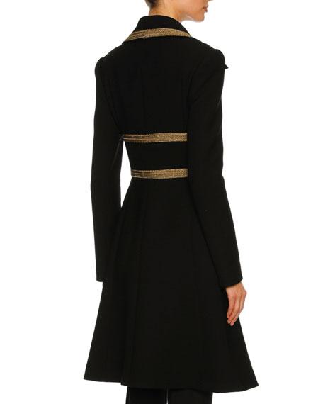 Metallic-Trim Wool-Crepe Coat, Black