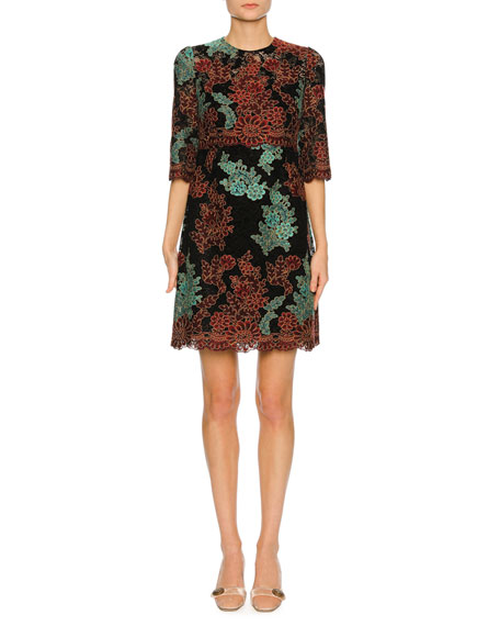 Lace-Embroidered 1/2-Sleeve Cocktail Dress