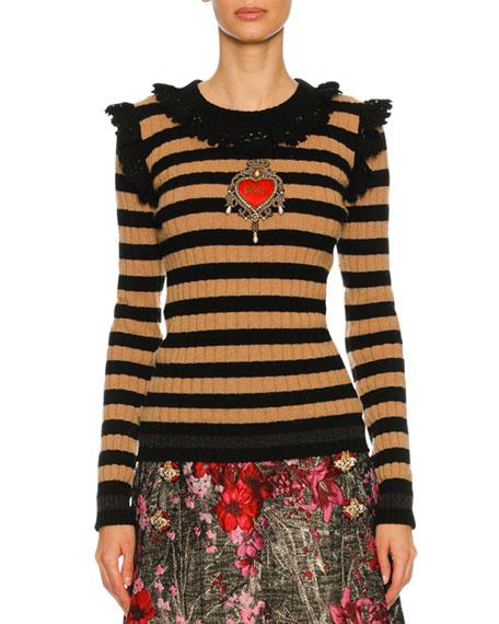 Striped Crochet-Trim Sweater, Black/Brown