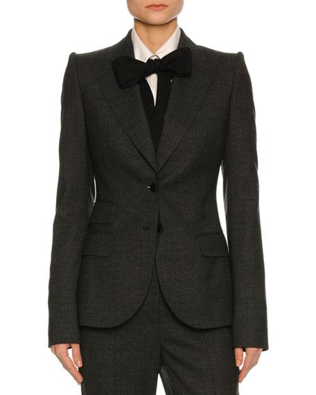 Stretch-Flannel Suit Jacket, Dark Gray