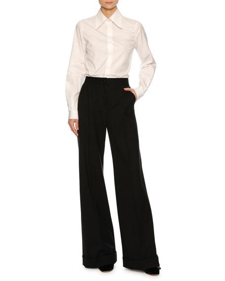 Cuffed Wide-Leg Pants, Black