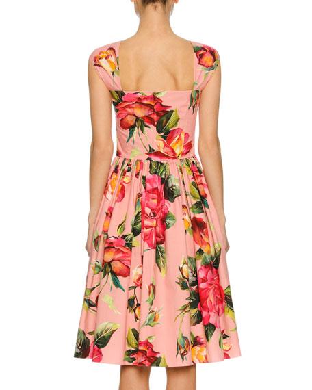 28ab7e506df0 Dolce & Gabbana Cap-Sleeve Floral-Print Poplin Dress, Pink Pattern