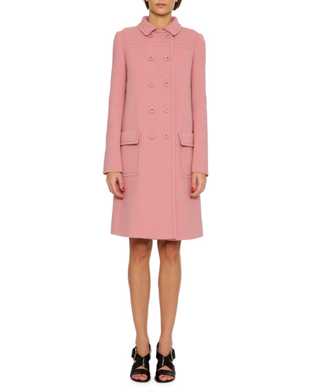 Double-Breasted Wool Coat, Pink
