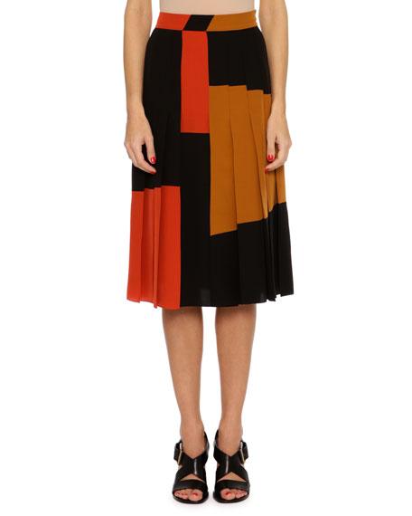 Pleated Colorblock Crepe de Chine Skirt, Multi