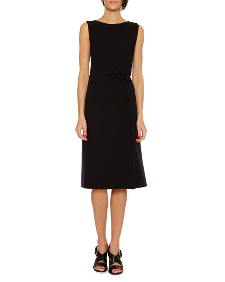 Bottega Veneta Sleeveless Wool Crepe Dress, Navy
