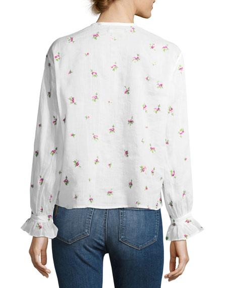 Uamos Floral-Print Ruffle Blouse