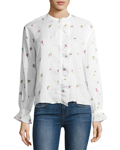 Uamos Floral-Print Ruffle Blouse