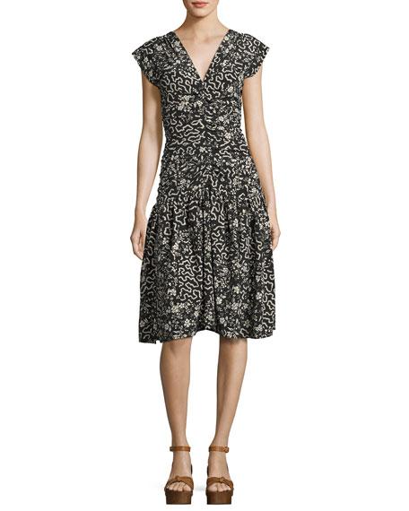 Glory Printed Cap-Sleeve Dress, Black