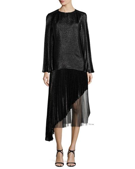Asymmetric Pleated Lamé Skirt, Black