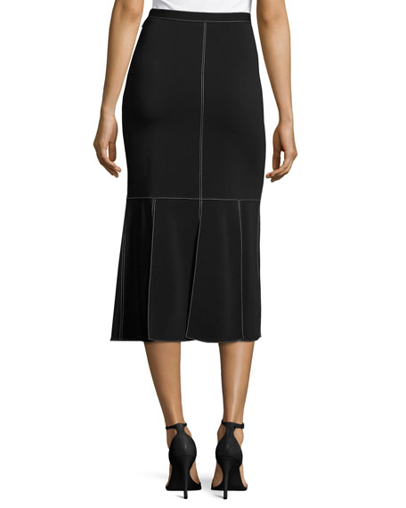 Topstitched Side-Slit Midi Skirt, Black
