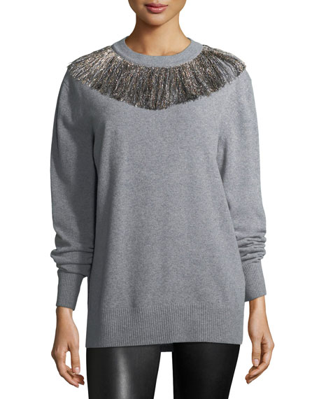 Metallic Fringe Knit Sweater
