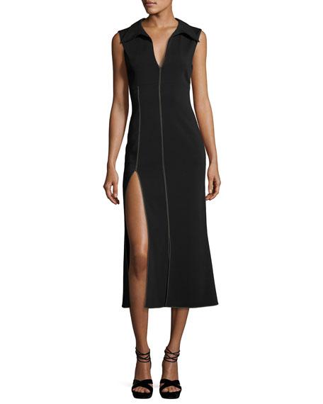 Sleeveless Side-Slit Midi Dress, Black