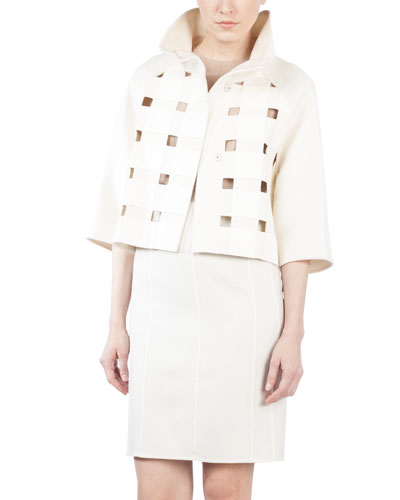 Funnel-Neck Bolero with Leather Squares, Crema