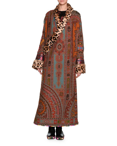 Printed Robe Coat with Fur Lapel & Cuffs, Red