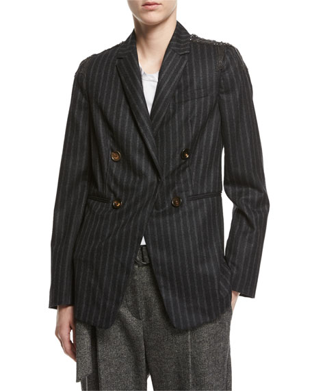 Regimental-Stripe Double-Breasted Jacket with Swarovski® & Monili Details, Gray