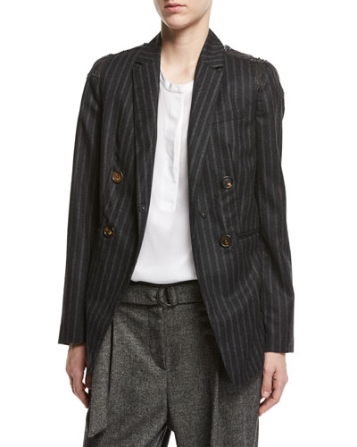 Regimental-Stripe Double-Breasted Jacket with Swarovski® & Monili Details, Gray
