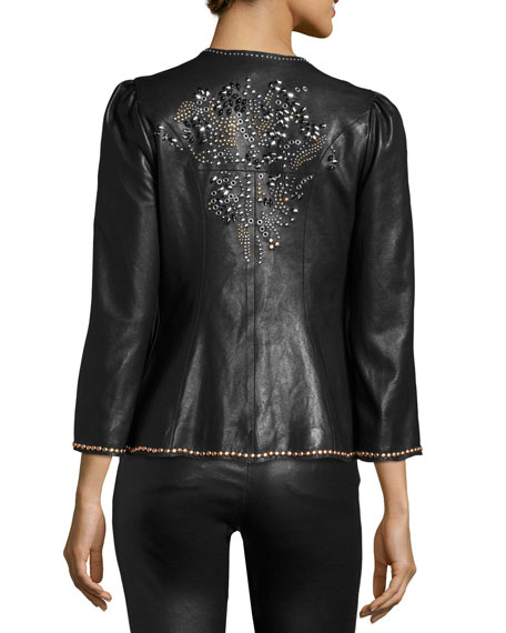 Blizzy Studded Leather Jacket, Black