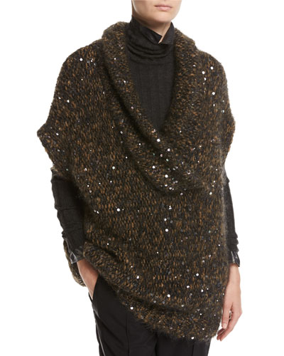 Paillette-Embellished Cap-Sleeve Tunic Sweater, Brown