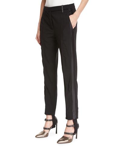 Stretch-Wool Stirrup Pants with Tuxedo Stripe, Black