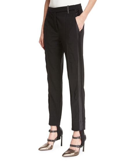 Stretch-Wool Stirrup Pants with Tuxedo Stripe, Black