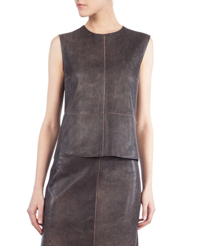 Sleeveless Antique Napa Leather Top, Sepia