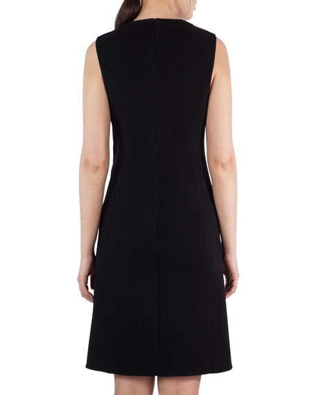 Sleeveless Textured Wool & Leather Sheath Dress, Black
