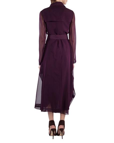 Majesty Belted Silk Georgette Trench Coat, Purple