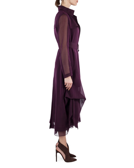 Majesty Belted Silk Georgette Trench Coat, Purple