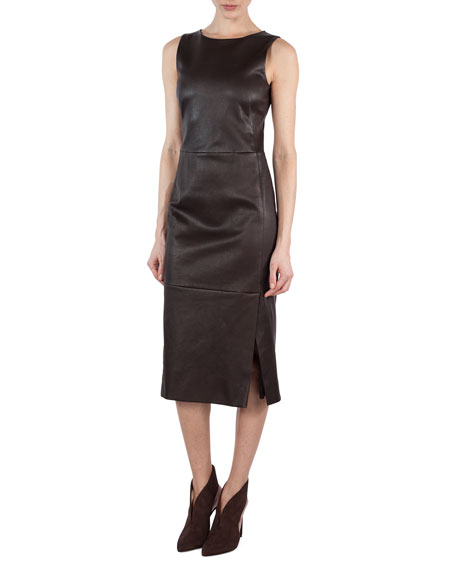 Sleeveless Napa Leather Sheath Dress, Brown