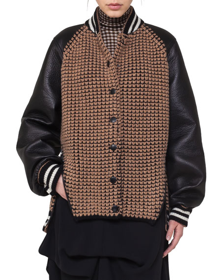 Textured Oversized Bomber Jacket with Leather Sleeves, Black/Brown