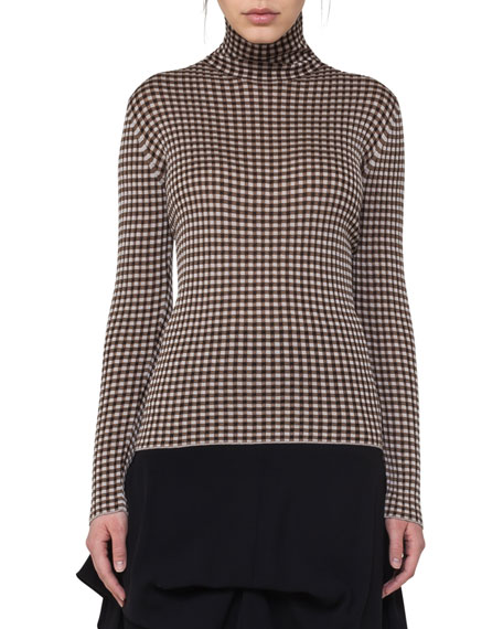 Check Jacquard Polo-Neck Top, Neutral