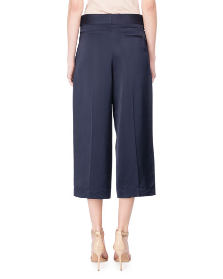 Cropped Satin Trousers, Blue