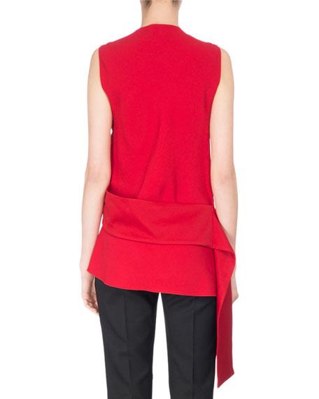 Sleeveless Asymmetric Crepe Blouse, Red