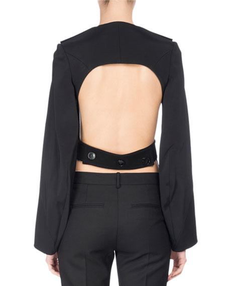 Long-Sleeve Open-Back Top, Black