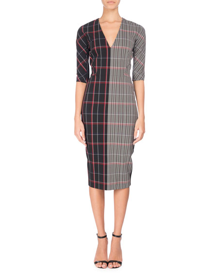 Elbow-Sleeve Combo Plaid Sheath Dress, Multi
