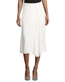 Asymmetric Godet Midi Skirt
